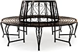 Tree Bench Metal Seat Powder Coated Steel Garden Outdoor Round Tree Benches Diameter 5.2 Foot