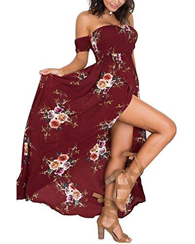 Femme Robe de Plage Longue d été Sexy Dos Nu Sans Bretelles Maxi Bohême Style Mode Robe De Soiree Robe Fendue Vin Rouge