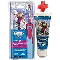 Juego completo Oral B Cepillo de dientes para niños, stages Power, diseño La reina de hielo, + Pasta de dientes cepillo de dientes eléctrico Oral B, para niños menores de 6años, 75ml