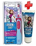 Kit completo Oral B spazzolino da denti elettrico Stages Power per bambini, motivo: Frozen-Spazzolino, con dentifricio Frozen, per bambini di meno di 6 anni, 75 ml