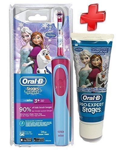 Kit Complet Oral B - Brosse à Dents Stages Power Enfants La Reine des Neiges - Brosse à Dents éléctrique + Dentifrice Oral B La Reine des Neiges Enfant Moins de 6 ans 75 ml