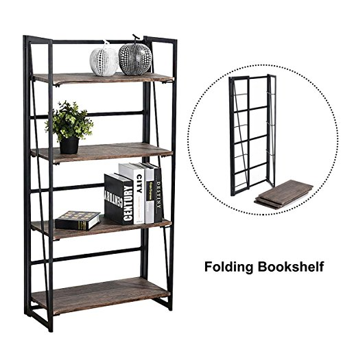 coavas 4-Tier-Bücherregal Regal-Speicher-Organisator No-Assembly Stabile faltbare rustikale Stand-Speicher-Regale - 23.6x11.6x49.2 Zoll (4-tier-bücherregal)