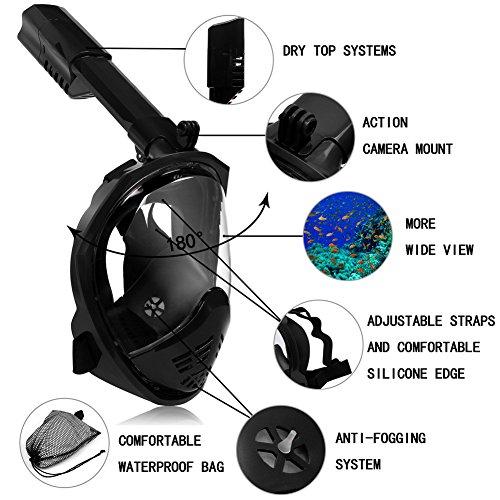 UGI® Pliage 180° de Large Vue Ronde Masque Masque de plongée Masque Anti-Fuite et Anti-buée Complet Compatible avec caméra d'action (Noir L/XL)