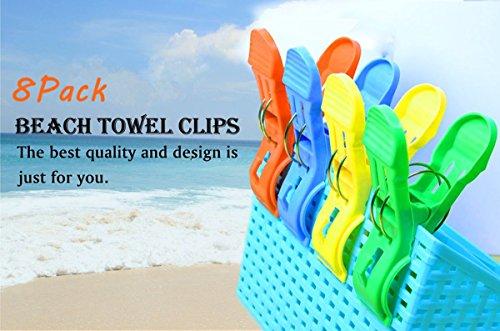 Kyerivs 8 Stück große Wäscheklammern Kunststoff Clips Quilt Clips für tägliche Wäsche, großes Strandtuch, schwere Badetuch, dicke Teppich etc. (Große Dicke Handtücher)