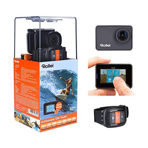 """Rollei Actioncam 550 Touch - WiFi Action Cam mit 2"""" Touchdisplay und 4k Video Auflösung, ultra schnelle 0,5 Sekunden Fotointervallaufnahmen mit 160° Super-Weitwinkel-Objektiv,Videobildstabilisierung, Windgeräusche Reduktion, bis 40 m wasserdicht, inkl. Unterwasserschutzgehäuse und Fernbedienung"""