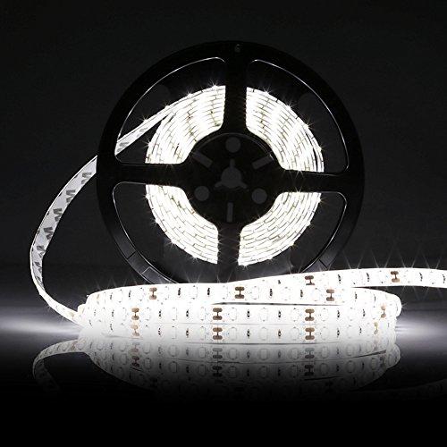 LEDMO Tiras LED 12V, Blanco cinta 300pcs SMD 5630 25Lm/led 5 metros de largo, el doble de brillo, tira led exterior,IP65 Impermeable, de alto rendimiento de color, CRI80, proteger los ojos