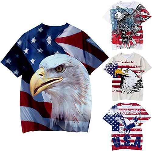 can Eagle Independence Day 3D Digitaldruck T-Shirt Tops Jungen Mädchen ()