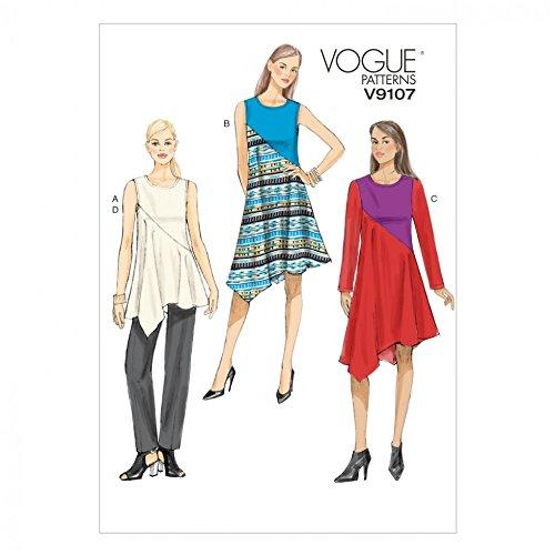 Vogue Damen Schnittmuster 9107Farbe Block Tunika Top, Kleider und Hose + gratis Minerva Crafts Craft Guide - Farbe Block Tunika Top
