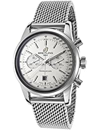 Breitling Hommes Bracelet en acier de 38mm et étui automatique cadran blanc Chronographe Montre a4131012-g757ss