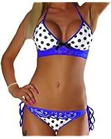ALZORA Neckholder Damen Bikini Set Top und Hose Punkte Farbauswahl, 10207
