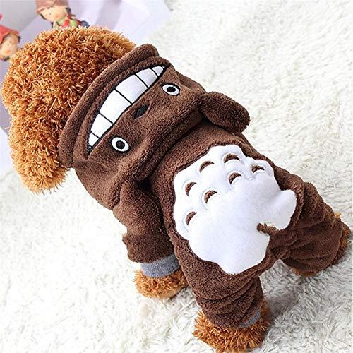 Katze Hund Mantel Hoodie Overall Hosen Hund Kleidung Tier Braun Polar Fleece Kostüm Für Haustiere Männer Frauen Cosplay Warmhalten,XL