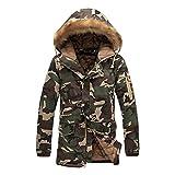 hibote Camuflaje Parkas Hombre Mujer Militar Abrigos de invierno Chaquetas Verde 4XL