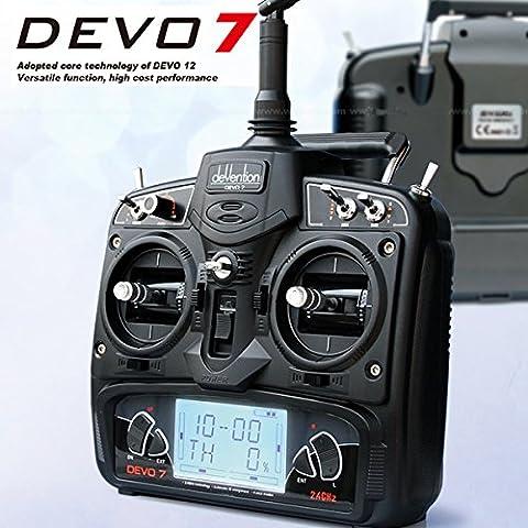 Bluelover Walkera DEVO 7 2,4 7 canales transmisor Devention Sin modo de receptor 2 (mano izquierda del acelerador)