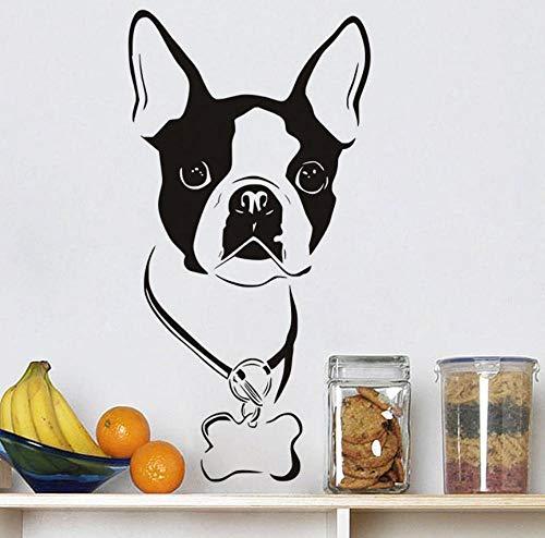 Kssim Nette Boston Terrier Vinyl Removable Hundekopf Kunst Wohnkultur Wandaufkleber Tierkopf Wandaufkleber Für Kinderzimmer 59 * 30