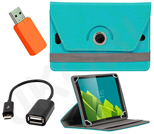 Jkobi 360° Rotating Front & Back Tablet Book Flip Case Cover For Dell Venue 83840 (Universal) With Card Reader + OTG Cable -Cyan  available at amazon for Rs.320