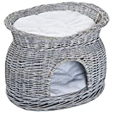 Pawhut 2-Tier Elevated Pet Bed Basket Willow Cat Kitten Tower House Cave with washable Cushions