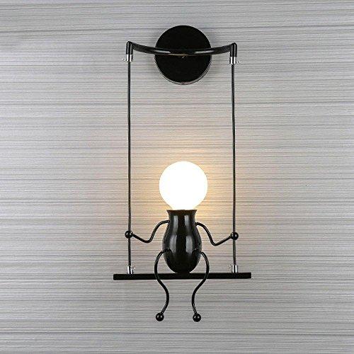 Lampe Murale Moderne Mode Applique Murale Créatif Simplicité Design Appliques pour Chambre d'enfant Couloir Décoratives Eclairage Lampe Douille E27*1 max. 40W , Noir