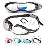 i-Swim Pro Swimming Goggles - Anti Fog Technology - Crystal Clear Vision - Watertight - Comfortable - 100% Moneyback Guarantee - Mirrored With UV Protection - Swim Goggle For Men And Women Best For Adults Kids Boys And Girls - Includes *FREE* Premium Protective Case *FREE* Nose Clip And *FREE* Ear Plugs (1 Schwarz)