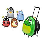 Hardshell Frog Design Suitcase - With Wheels And Retractable Handle - 45cm - Kids Luggage