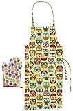 #9: Akrobo 2 Piece Cotton Kitchen Apron and Oven Glove Set - Multi-Colored