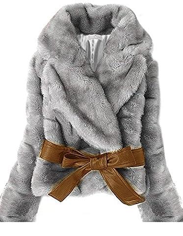 CRAVOG Manteau Femmes Imitation fourrure de lapin Gilet Veste Manteau Mince de fourrure Manches Longues
