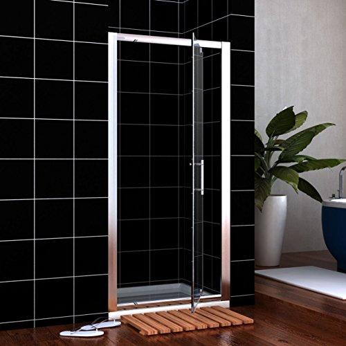 800mm Pivot Hinge Shower Door 6mm Safety Glass Reversible Shower Enclosure Cubicle