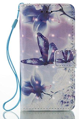[Coque Iphone 7 silicone] Nnopbeclik Mode Folio Wallet/Portefeuille en Bonne Qualité PU Cuir Housse pour Iphone 7 Coque silicone (4.7 Pouce) élégant Style de Impression Couleur + Bande de Poignet Inté papillon