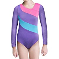 Biketards Leotards Rainbow Spiny Spakle Mangas largas Gimnasia Leotards Conjunto de Ballet para niñas (Púrpura, 130 (5-6Y))
