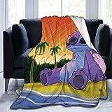 NR Stitch Cartoon Beach Coperte da tiro Copriletti in Microfibra Coperte in Pile Gettare copriletto in Corallo Ultra Morbido per Divano Letto Soggiorno 50x40 Pollici