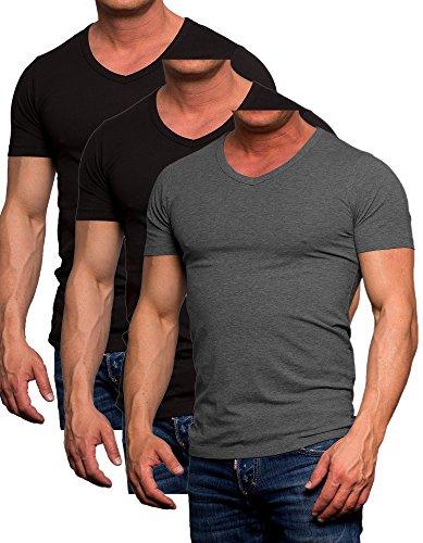 Herren Jack Jones 3er Pack Set T-Shirt Herren Slim Fit Körperbetonend Farbmix10