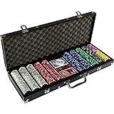 Ultimate Black Edition Poker Set with 500 Premium 12g Metal Core Laser Chips, 100% Plastic Cards, 2 x Poker Deck, Aluminium Poker Case, 5 x Dice, 1 x Dealer Button, Poker, Set, Poker Chips, Case
