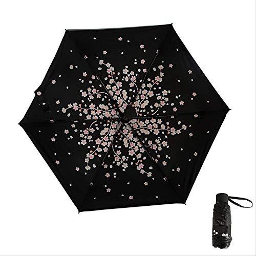 ASYPJP Regenschirm Fünffach-Taschenschirm-Tasche Black Glue Sun Umbrella Tragbarer SonnenschirmInner Cherry Blossom Seidon - Cherry Blossom Ärmel