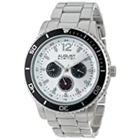 August Steiner Men's Large Face Tachymeter Fashion Watch - Sunburst Dial with Day of Week, Date, and 24 Hour Subdial on Silver Bracelet - AS8059