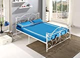 mecor Double White Metal Bed Frame Crystal Finials with Headboard Footboard and Wooden Slat Support (4FT6)