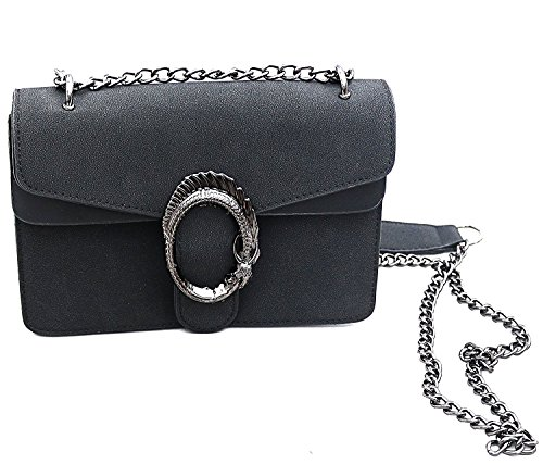 Designer Handtasche in Veloursleder-Optik by Sassyclassy | Elegante Damen -Tasche in Schwarz | Wildleder-Optik | Schmuckdetail als Drachen-Körper | Chain-Bag mit Kettenhenkel | Umhängetasche