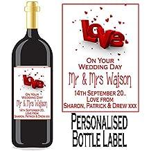 Eternal Design personnalisé Mariage Jour Vin/Spirit étiquette de bouteille Wdwl 24