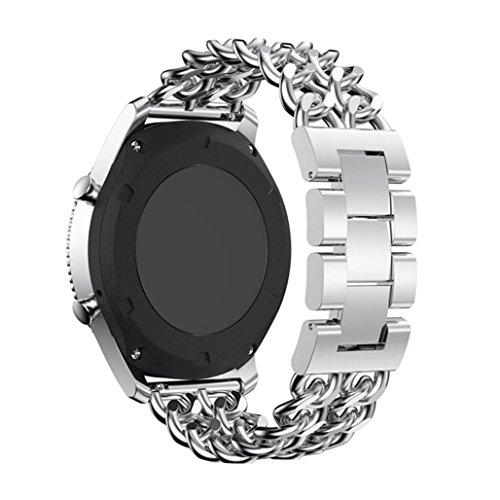 Samsung Gear S3 Frontier / S3 Classic Uhr Armband, CICIYONER 1 PC Bunte Fine Woven Nylon verstellbaren Sport Ersatz Band Strap (Silber, Samsung Gear S3 Band) (Stainless Steel Wide Band)