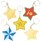 Schlüsselanhänger Stern aus Holz für Kinder als Bastel- und Deko-Idee für Jungen und Mädchen (8 Stück)
