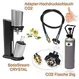 Wassersprudler SODASTREAM Crystal + CO2 Adapter-Hochdruckschlauch + 2kg Eigentumsflasche CO2. Bis zu 350 Liter Sprudelwasser pro Füllung! CO2 Schlauch umfüllen