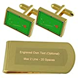 Select Gifts Mesa de Billar de Tono Oro Gemelos Money Clip Grabado Set de Regalo