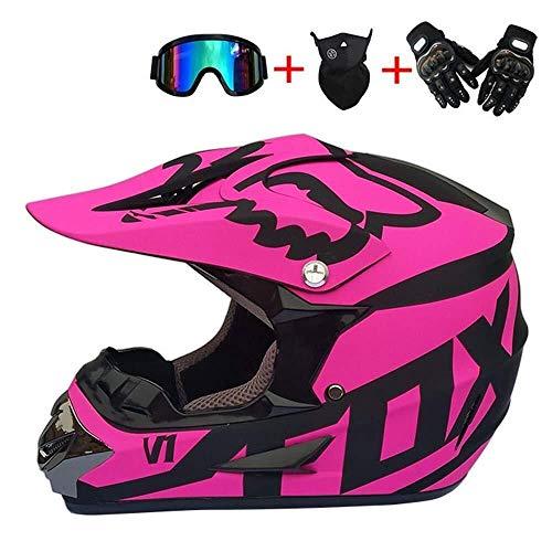 Yisenn casco moto casco motocross, nero e rosa/dot certificato, motocross adulto, casco con occhiali guanti maschera donna uomo e bambino adulti (size : small)