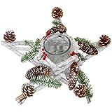 Adventskranz Stern, Weihnachtsdeko Tischdeko, Holz mit Kerzenglas 40x40x12cm weiß-grau