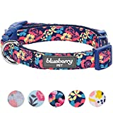 Blueberry Pet Fein Gefertigtes Inniges Blumendruck Hundehalsband in Marine für Hunde, S, Hals 30cm-40cm