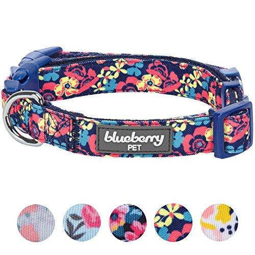 Collar para perro de Blueberry Pet, con estampado de flores