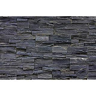 Fototapete 3d Effekt Black Stonewall Wandbild Dekoration Tapete in Steinoptik schwarz Steinwand Wohnzimmer 3d Tapete Stein   Foto-Tapete Wandtapete Fotoposter Wanddeko by GREAT ART (336 x 238 cm)