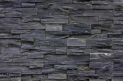 Muro di pietra parete di pietra FOTOMURALE nero - Asian Stonewall natura scuro pietre – quadro -moderno muro di pietra decorazione da parete