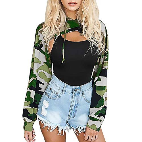 TWISFER Crop Top Damen Sommer Fashion Chic Sport Langarm Hoodies Camouflage/Einfarbig Pullover Casual Style Loose Streetwear Sweatshirt Kapuzenpullover Kapuzenshirt