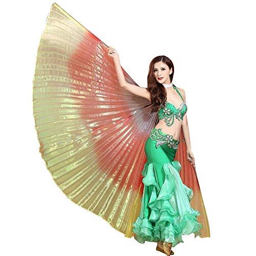 Chejarity Bauchtänzeflügel Isis Flügel Bunte Orientalischen Tanz Dance Fairy Schmetterlings Wings Multi Color Halloween Cosplay Kostüm 360 Grad Bühnenauftritte Zubehör Isis Flügel (145CM, Gelb)