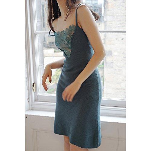 Mayihang Kleid Dress Skirt Spitze Stitching Schlinge Verschlüsseln Strickkleid,S,Blau,Grün