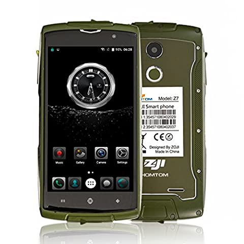 HOMTOM ZOJI Z7 4G Smartphone Ohne Vertrag 5.0 Zoll CNC-Metallrahmen IP68 Wasserdicht Stoßfest Staubdicht Quad Core Dual SIM 2GB RAM+16GB ROM 13MP+5MP Kameras GPS Dick Android 6.0 (Sim Ohne Vertrag)